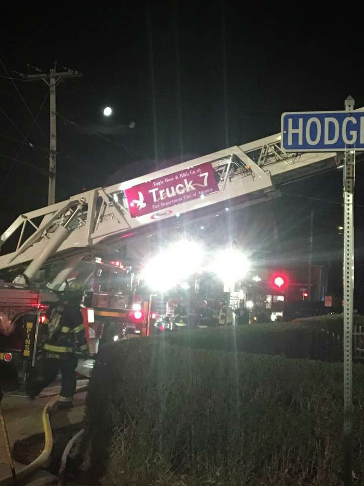 Two firefighters were injured fighting an overnight blaze at a home on Hodge Avenue in Ansonia, but no residents were harmed.