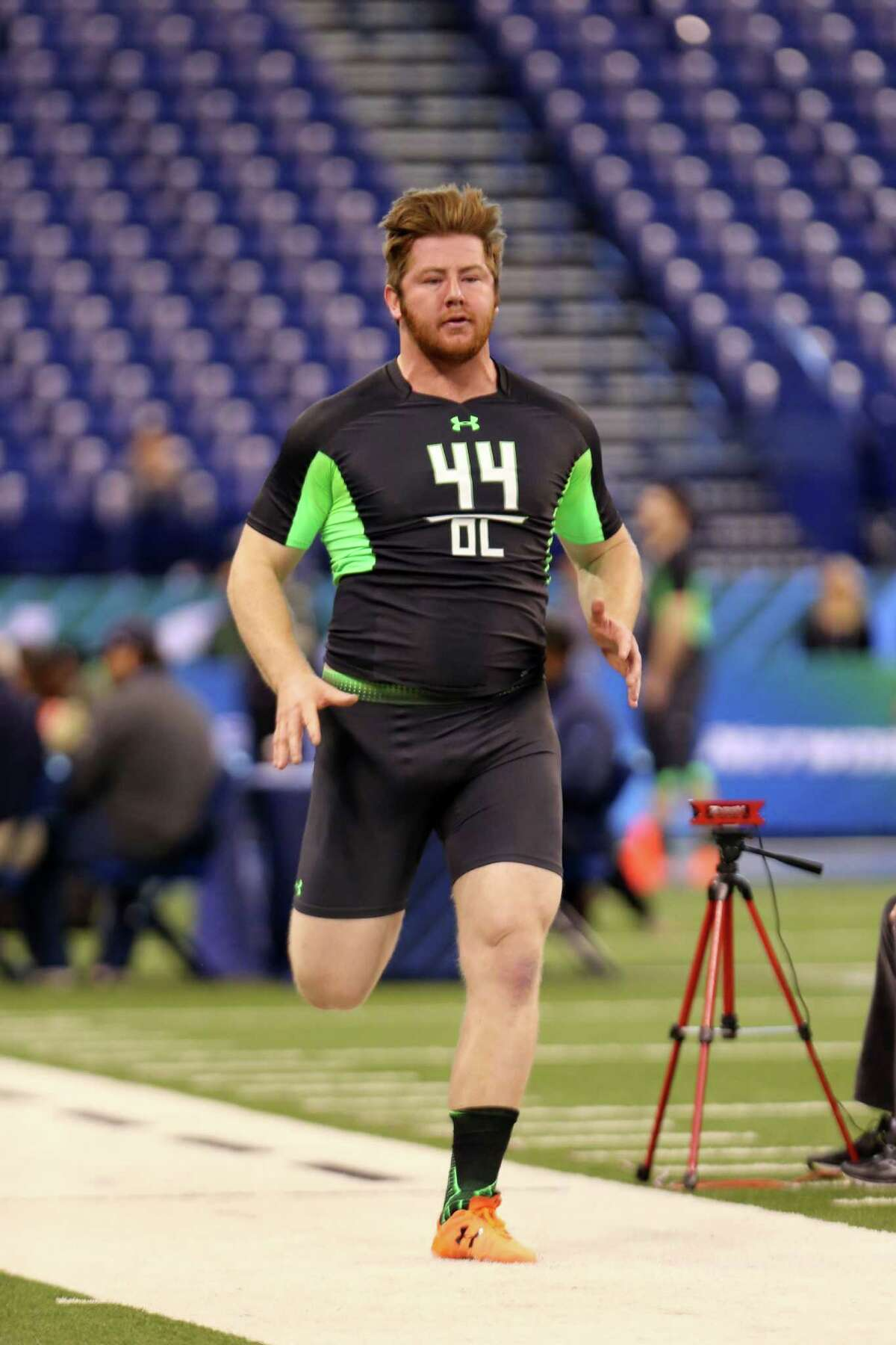 North Carolina State offensive lineman Joe Thuney during the 40 yard dash at the NFL football scouting combine Friday, Feb. 26, 2016, in Indianapolis.