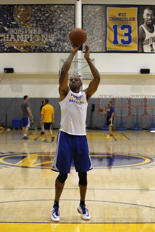 "Andre Iguodala, above, and Andrew Bogutg practice free throws Sunday. Iguodala said, ""We need to be prepared for anything."" Photo: Brittany Murphy, The Chronicle"