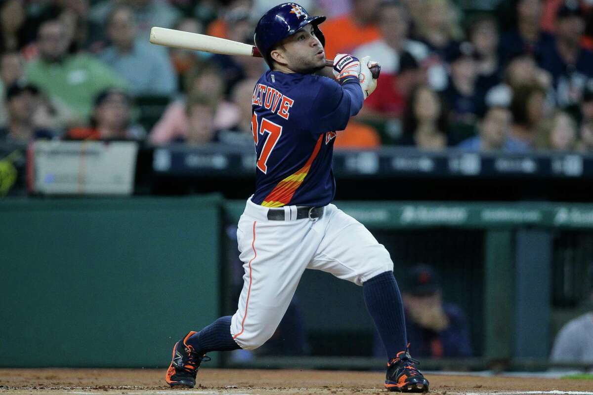 April 17: Astros 5, Tigers 4 Houston Astros second baseman Jose Altuve (27) watches the ball after hitting a home run in the first inning as the Astros take on the Tigers at Minute maid Park Sunday, April 17, 2016 in Houston.