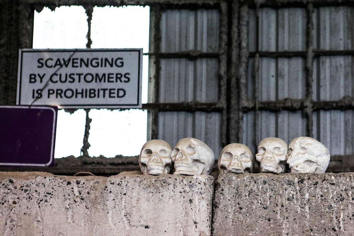 Styrofoam skulls sit atop a recycling area as decoration, at the Recology Center, in San Francisco , California, on Thursday, April 14, 2016.