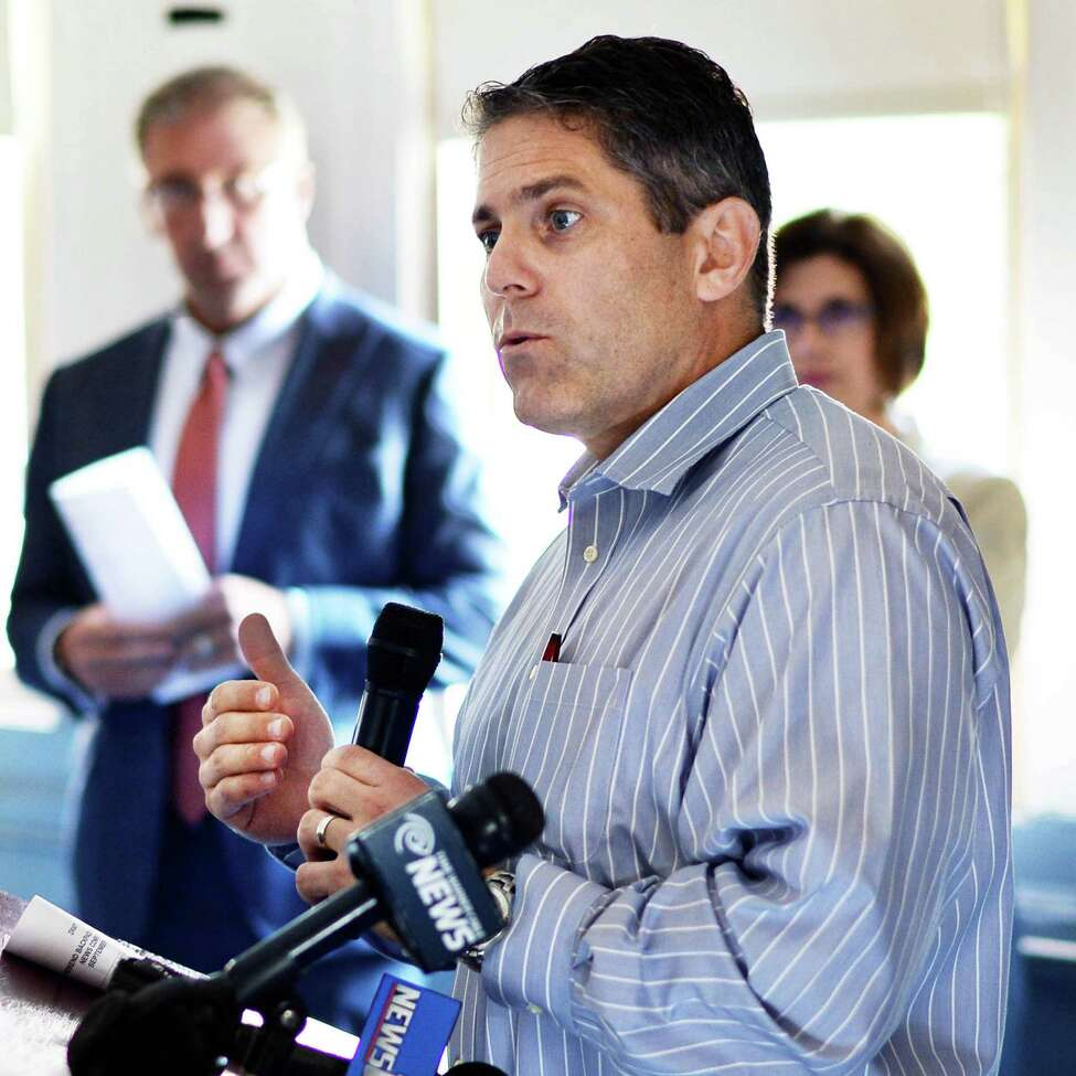 Schenectady City School District Superintendent Larry Spring speaks during a news conference for the Weekend Backpack Partnership Wednesday Sept. 2, 2015 at Pleasant Valley School in Schenectady, NY. (John Carl D'Annibale / Times Union)