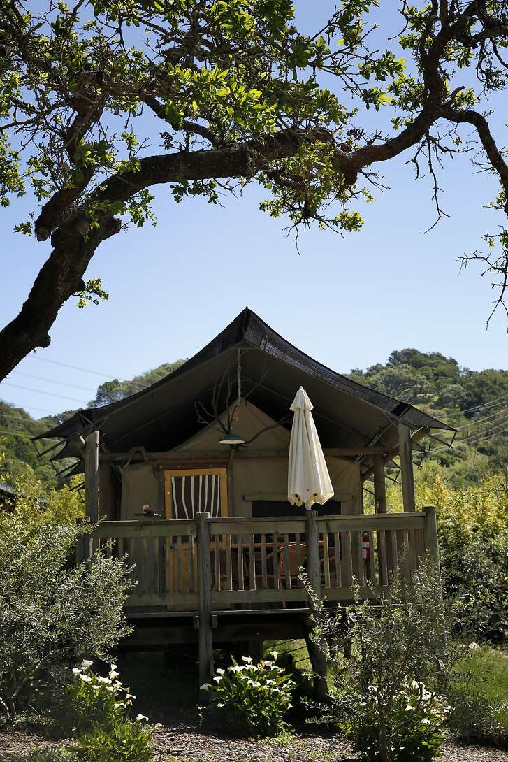 Scenes from one of the glamping tents at Safari West in Santa Rosa, Calif., on Wednesday, April 6, 2015.