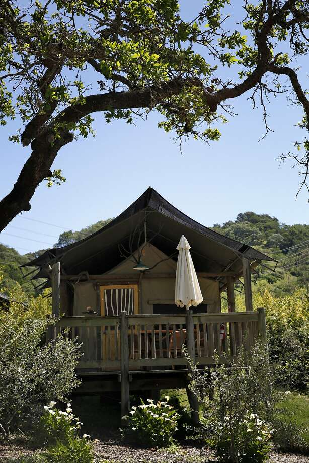 "One of the ""glamping"" tents at Safari West. Photo: Preston Gannaway, GRAIN/Special To The Chronicle"