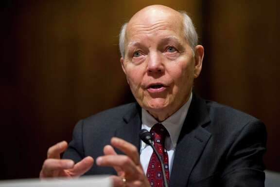 In this photo taken Feb. 10, 2016, Internal Revenue Service (IRS) Commissioner John Koskinen testifies on Capitol Hill in Washington. Millions of taxpayers face a midnight deadline Monday, March 18, 2016, to file their tax returns, while millions of other Americans seek more time, a six-month extension. The filing deadline was delayed three days beyond the traditional April 15 deadline, because Friday was a legal holiday in the District of Columbia.  (AP Photo/Manuel Balce Ceneta) ORG XMIT: WX104