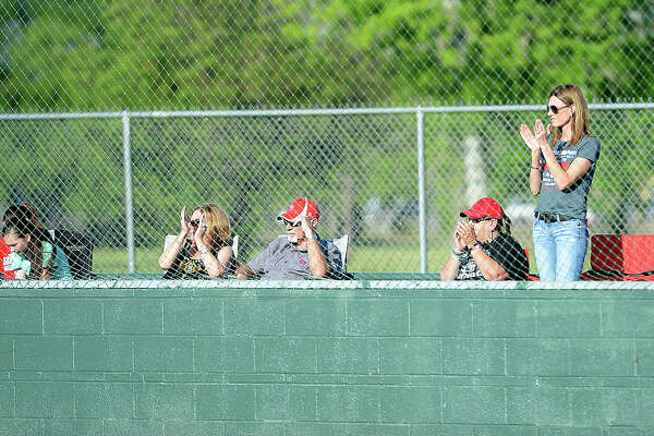 Lumberton's fans cheer on the Raiders during Friday's District 22-5A match-up at PN-G. Photo taken Friday, April 15, 2016 Kim Brent/The Enterprise