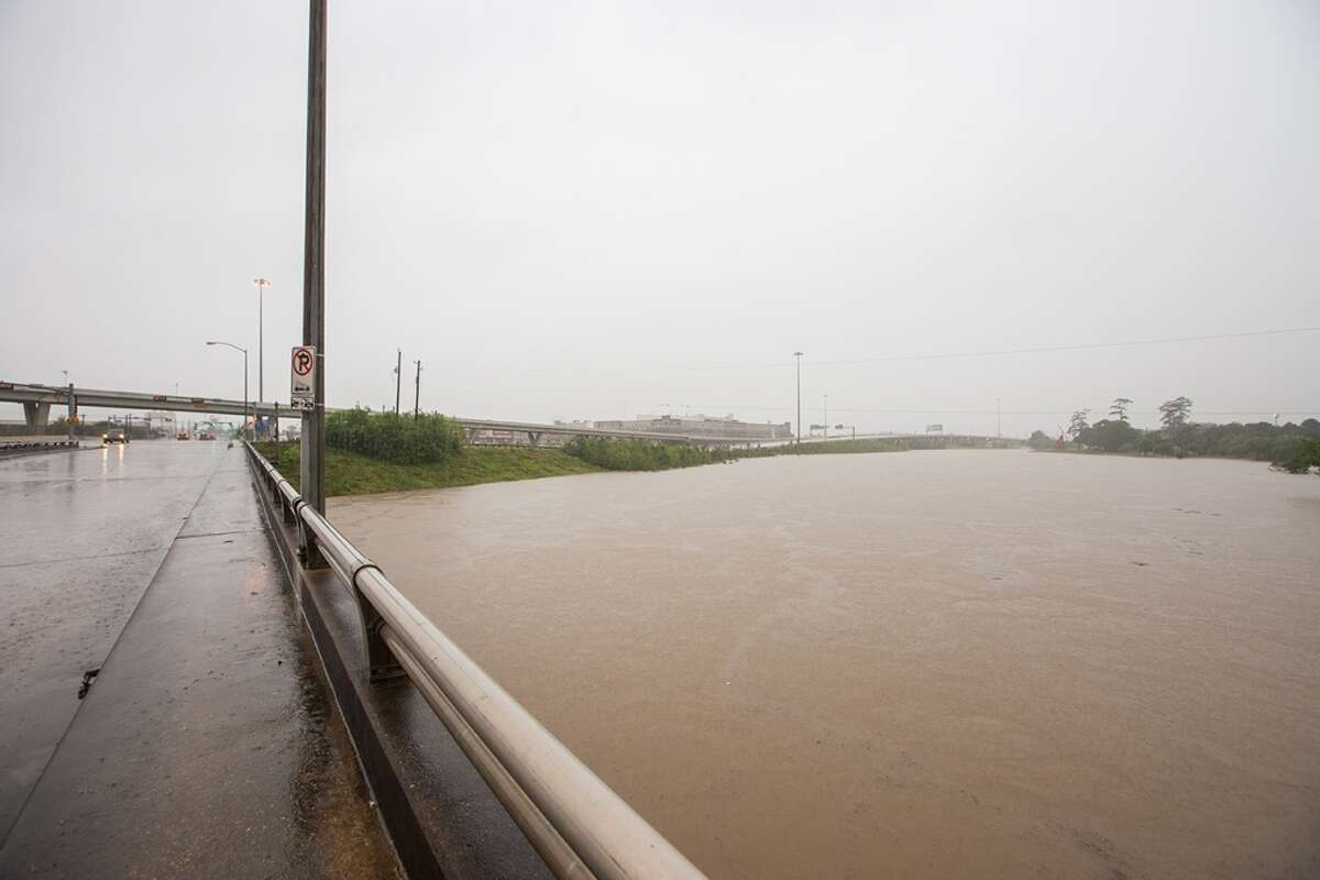 Photography Andy Hemingway took these photos during a walk along several of Houston freeways April 18, 2016. The freeways were virtually empty due to severe flooding caused by historic storms overnight.