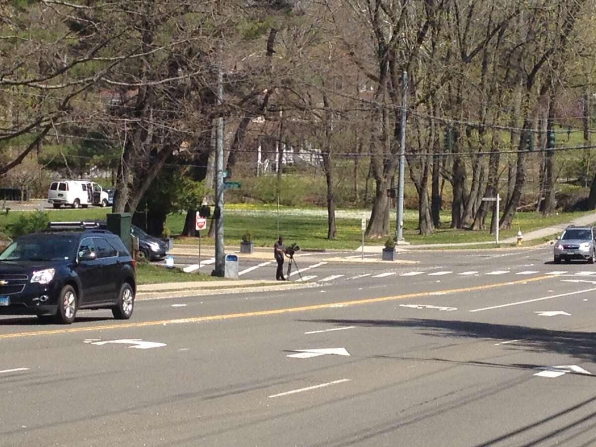 Police are investigating the death of a pedestrian Sunday, April 17, 2016 on the Post Road at Hillside Road in Greenwich, Conn.