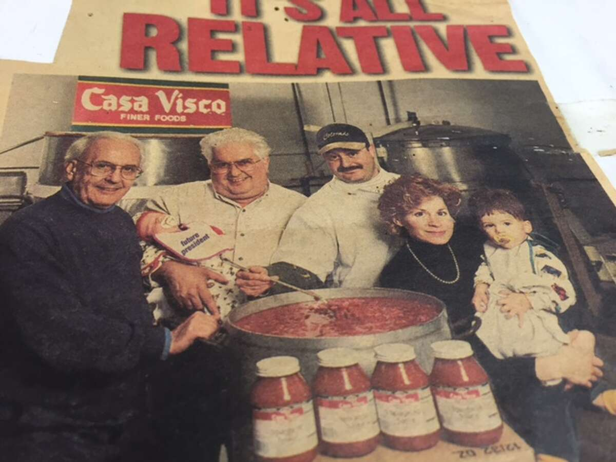 A Spring ?1995 ?newspaper clipping. Adine Viscusi, far left, holding her oldest son ?Joseph Gallo who is now 22 and a senior at Oswego. (Courstesy Adine Viscusi)