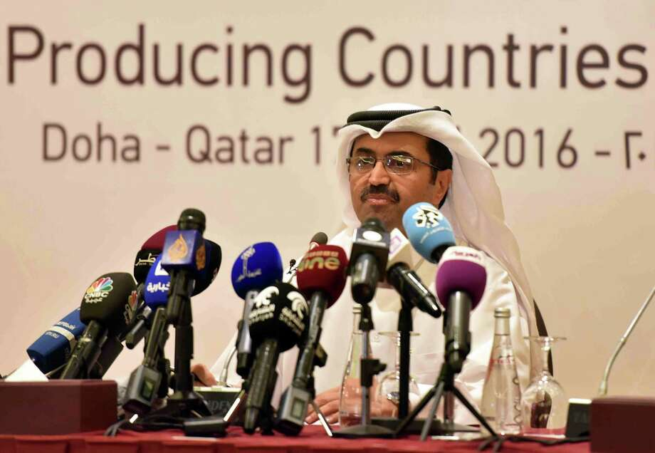 Qatar's Energy Minister Mohammed bin Saleh al-Sada holds a news conference during a meeting between major oil-producing countries Sunday in the Qatari capital Doha. The summit, which dragged on for more than 10 hours beyond its scheduled conclusion, finished with no final accord. Photo: Karim Jaafar /AFP /Getty Images / AFP or licensors