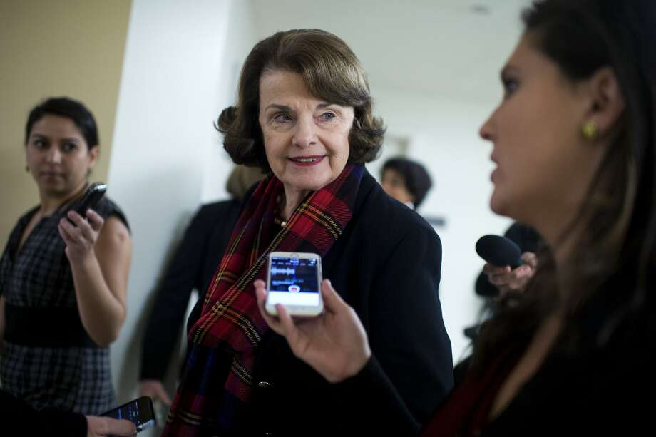 UNITED STATES - DECEMBER 08: Sen. Dianne Feinstein, D-Calif., talks with reporters in the basement of the Capitol before the Senate Policy luncheons, December 8, 2015. (Photo By Tom Williams/CQ Roll Call) Photo: Tom Williams, CQ-Roll Call,Inc.