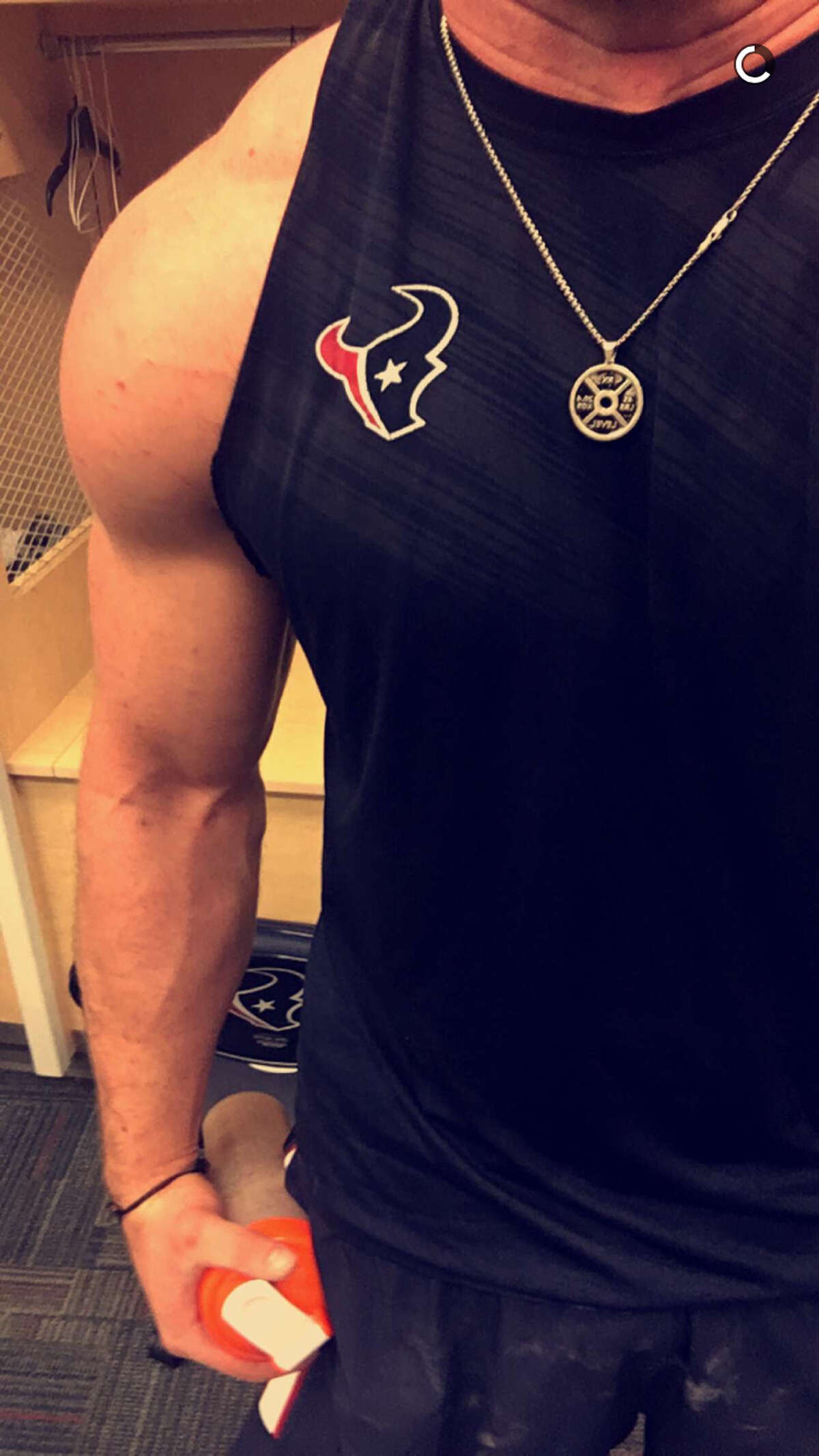 J.J. Watt sent some Snapchat photos from NRG Stadium today where he made it in to work out despite the flooding throughout the city. He sent this photo at about 3 p.m. Monday.