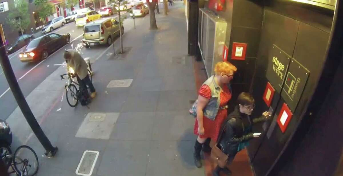This still was taken from a Nest Cam security video of a bike theft Friday on Valencia Street.