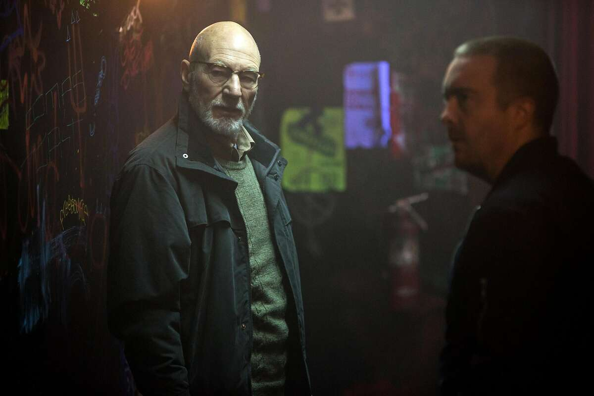 """This image released by A24 Films shows Patrick Stewarrt in a scene from, """"Green Room."""" (Scott Green/A24 via AP)"""