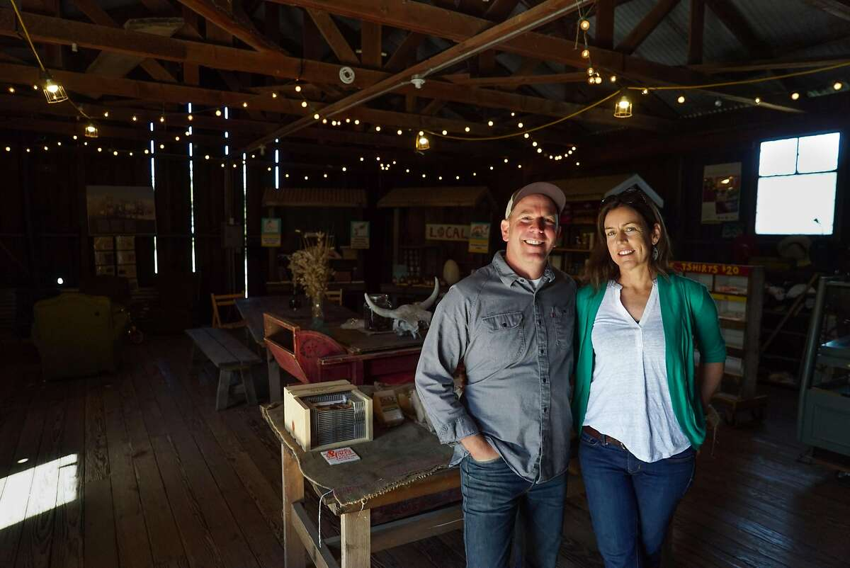 Nancy Vail and Jered Lawson pose for a photograph at Pie Ranch in Pescadero, Calif. on Monday, April 18, 2016. The farm has retained some of the crew that worked the land previously.