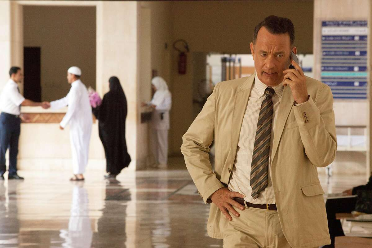 """This image released by the Roadside Attractions shows Tom Hanks in a scene from """"A Hologram for the King,"""" a film being featured at the Tribeca Film Festival. (Siffedine Elamine/Roadside Attractions via AP)"""
