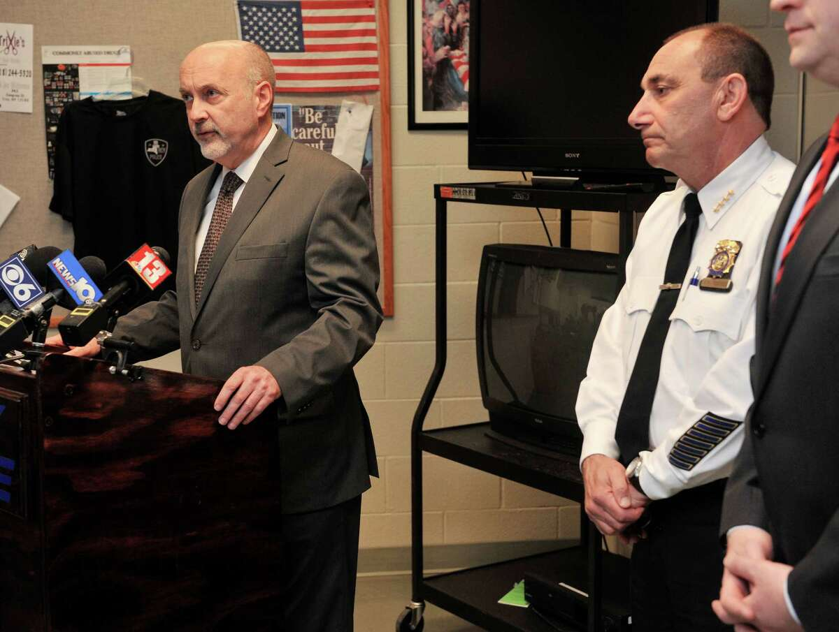 Troy Mayor Patrick Madden, left, and Troy Chief of Police John Tedesco take part in a press conference on Monday, April 18, 2016, in Troy N.Y., to talk about the police shooting that took place a day earlier. (Paul Buckowski / Times Union)