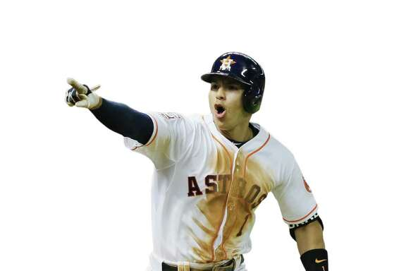 HOUSTON, TX - AUGUST 19:  Carlos Correa #1 of the Houston Astros celebrates after driving in the game winning run in the bottom of the 13th inning to defeat the Tampa Bay Rays 3-2 during their game at Minute Maid Park on August 19, 2015 in Houston, Texas.  (Photo by Scott Halleran/Getty Images)