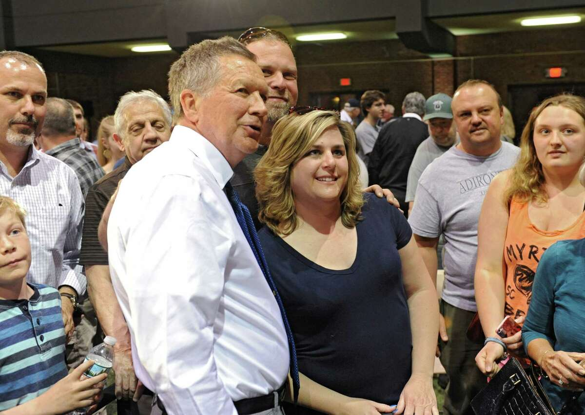 Ohio Governor and Republican presidential candidate John Kasich mingles with supporters after speaking at a town hall meeting at the Schenectady Armory on Monday, April 18, 2016 in Schenectady, N.Y. (Lori Van Buren / Times Union)