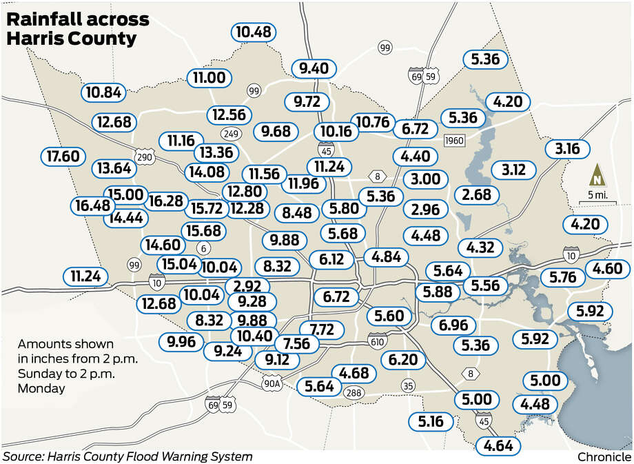 Western and northwestern Harris County saw the highest rainfall totals Monday.