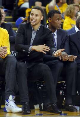 Golden State Warriors' Stephen Curry reacts to foul call in 2nd quarter of Warriors' game against Houston Rockets in Game 2 of 1st round of NBA Playoffs at Oracle Arena in Oakland, Calif., on Monday, April 18, 2016.