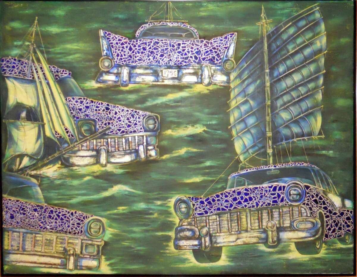 """Jacqueline Brito?'s """"The Fleet (La Flota)"""" of oil, glass and silver leaf, will be on display in the new ?""""Two Steps Forward: Contemporary Cuban Art"""" exhibition at the Westport Arts Center."""