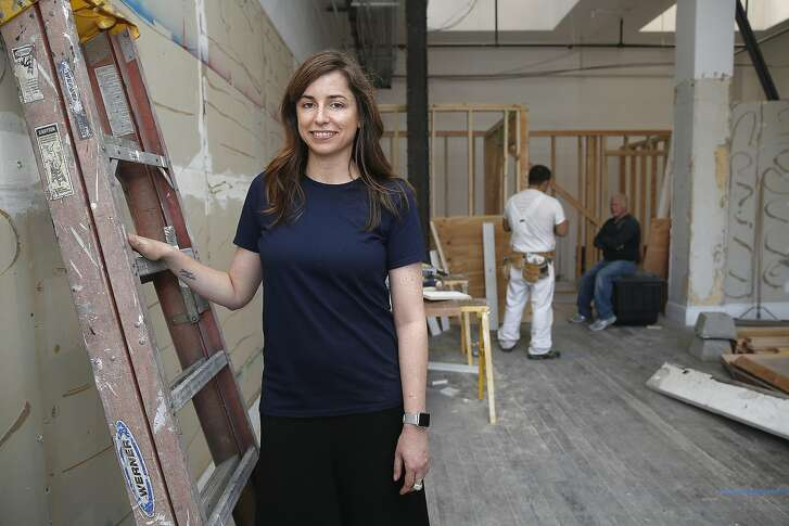 Hero Shop owner Emily Holt shows her boutique under construction in San Francisco, California on monday, april 18, 2016.