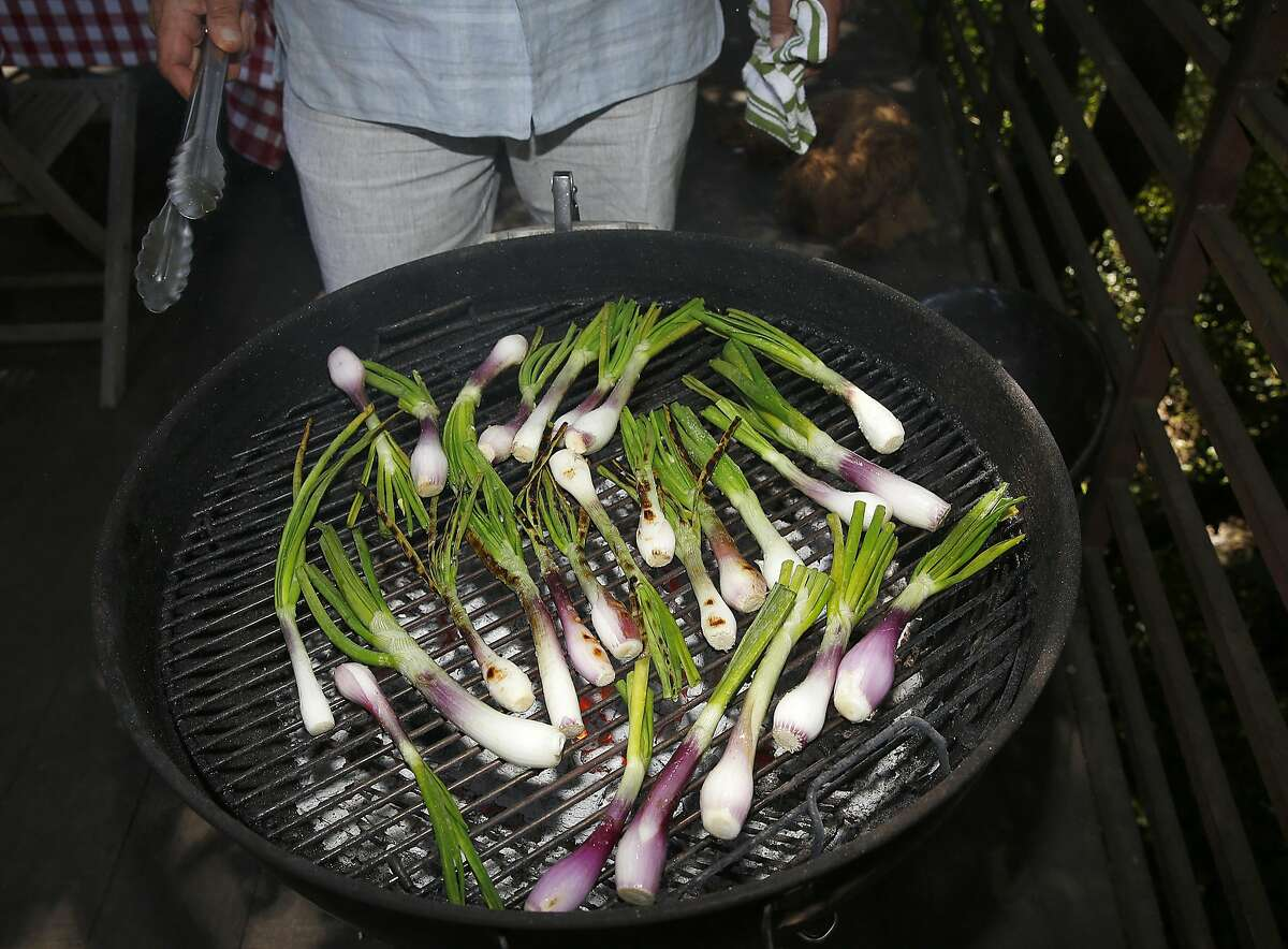 Chef Will Gioia grills at home in Mill Valley, California on monday, april 18, 2016.