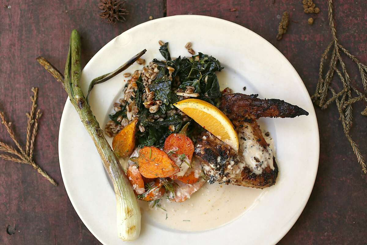 Chef Will Gioia made a grilled chicken dish at home in Mill Valley, California on monday, april 18, 2016.