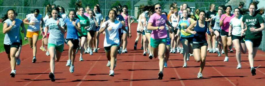 SPECTRUM/New Milford High School girls' track practice, April 1, 2010 Photo: Norm Cummings / The News-Times
