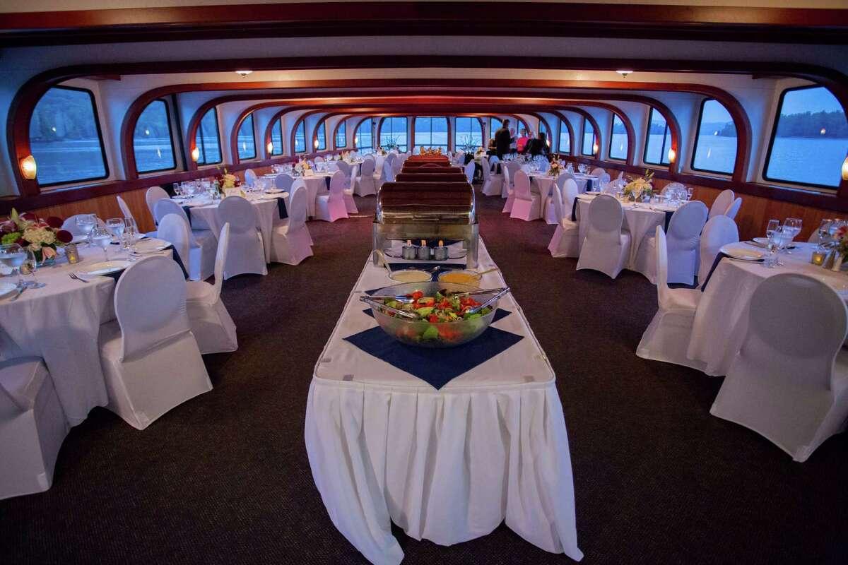 Inside Cira Masters and Cory Carson Shoreline Cruises boat reception at their September 12, 2015 nuptials. (Dave Bigler Photography)