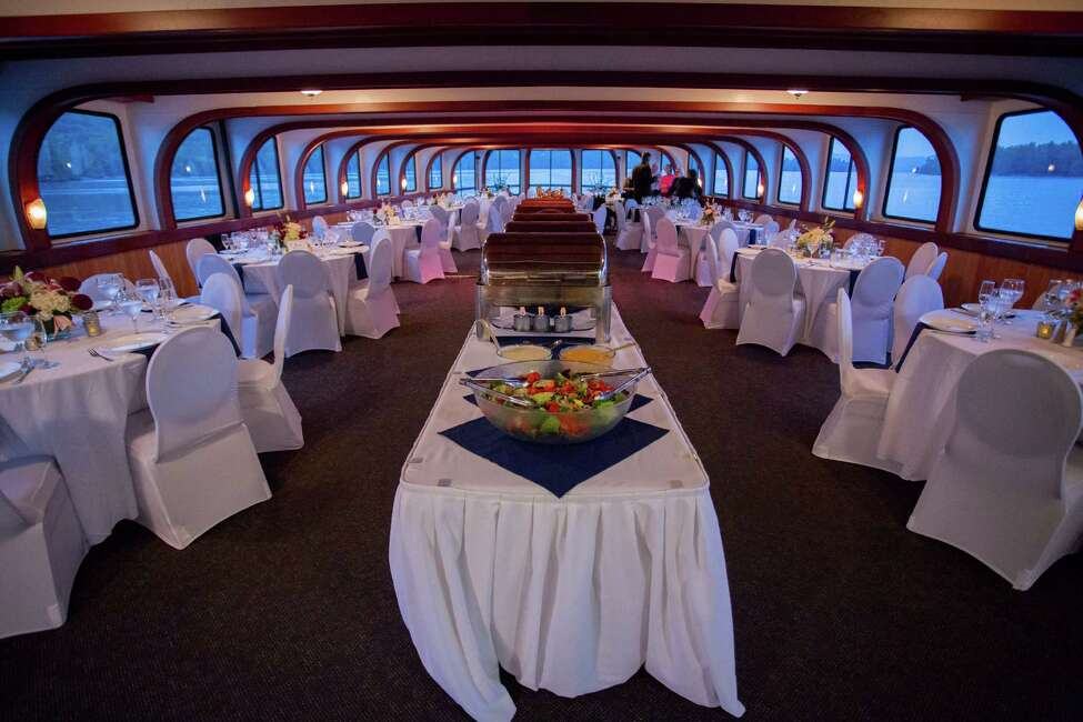 Inside Cira Masters and Cory Carson Shoreline Cruises boat reception at their September 12, 2015 nuptials. (Dave Bigler Photography)