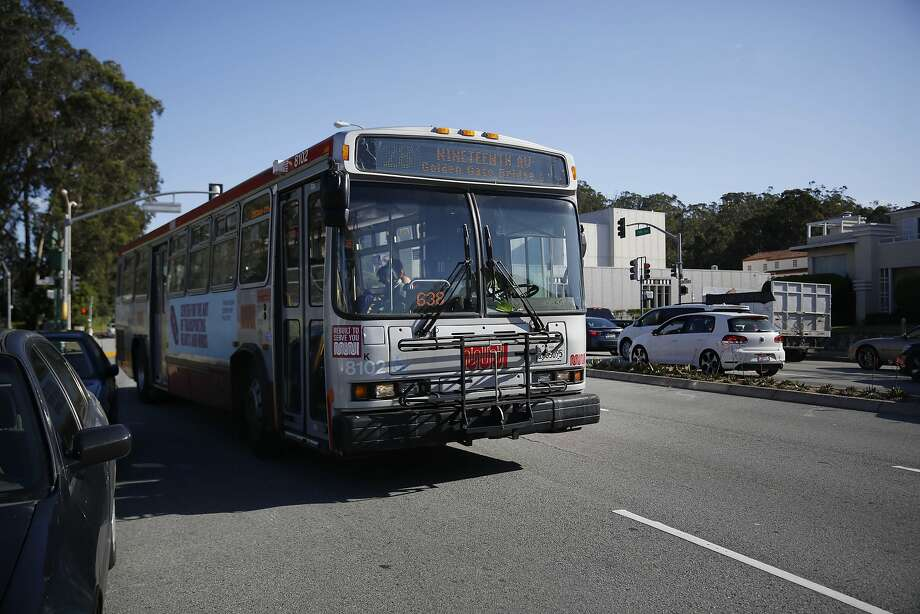 A 28-19th Avenue Muni bus moves along 19th Avenue on Tuesday, April 19, 2016. A bus on Muni's 37 line crashed into a parked firetruck Friday in the Glen Park neighborhood. Photo: Lea Suzuki, The Chronicle