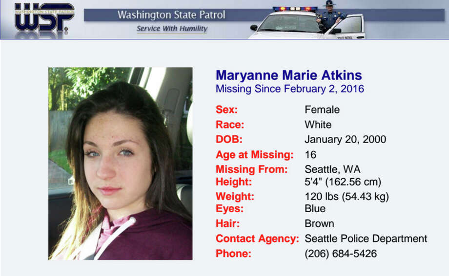 Maryanne Marie Atkins, pictured in a Washington State Patrol missing persons announcement.