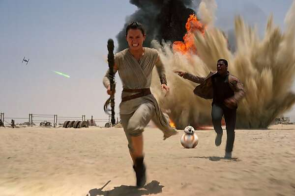 """This photo provided by Disney shows Daisy Ridley as Rey, left, and John Boyega as Finn, in a scene from the new film, """"Star Wars: The Force Awakens."""" The cable network announced Tuesday, Feb. 2, 2016, that """"Ant-Man,"""" """"Avengers: Age of Ultron, """"Cinderella,"""" """"Daddy's Home,"""" """"Jurassic World,"""" """"Pitch Perfect 2,"""" """"Star Wars: The Force Awakens,"""" and """"The Hunger Games: Mockingjay Part 2"""" are up for the favorite film prize at the 29th annual ceremony. The slime-filled extravaganza honoring kids' pop-culture picks will be held March 12 at the Forum in Inglewood, Calif. (Film Frame/Disney/Lucasfilm via AP)"""