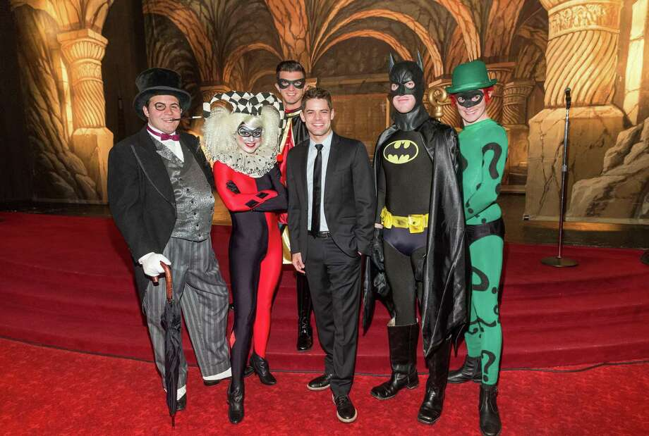 Jeremy Jordan, center, with super heroes at the A.C.T. Supergala 2016. Photo: Drew Altizer Photography / © 2015 Drew Altizer Photography