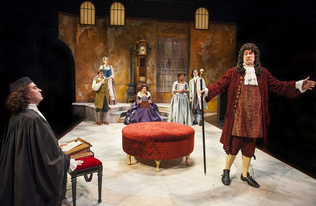 A reinvigorated Geronte (Julian Lopez-Morillas, right) recognizes the error of his ways, much to the surprise of (from left) Scruple (Lawrence Radecker), Crispin (Patrick Kelly Jones), Lisette (Katie Rubin), Madame Argonte (Elizabeth Carter), Isabelle (Khalia Davis) and Eraste (Kenny Toll) in Aurora Theatre Company's production of
