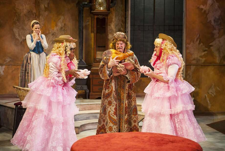 """Julian Lopez-Morillas (center) as Geronte finds himself surrounded by imposters played by Khalia Davis (left) and Patrick Kelly Jones (right) while Katie Rubin as Lisette begins to fear the plan is backfiring in Aurora Theatre CompanyÕs Bay Area premiere of """"The Heir Apparent"""" by David Ives. The production runs through May 15.  Photo by David Allen Photo: David Allen"""