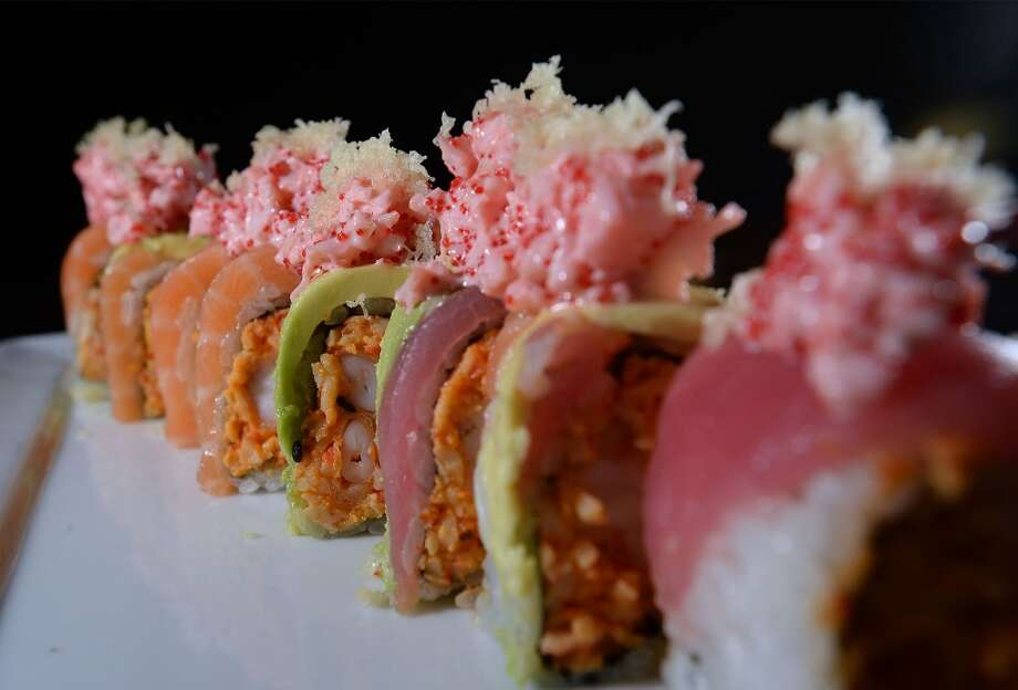 The OMG roll at the Sake Sushi Bar & Lounge in Port Arthur is made with spicy crab, shrimp tempura, avocado, salmon, tuna and spicy masago.