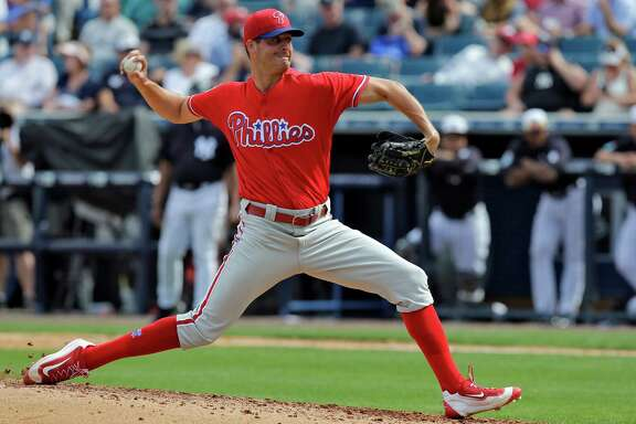 Philadelphia Phillies starting pitcher Mark Appel delivers to the New York Yankees during the sixth inning of a spring training baseball game Thursday, March 3, 2016, in Tampa, Fla.