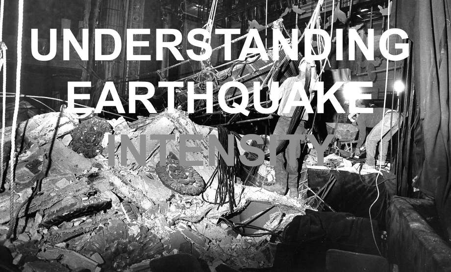 Earthquake magnitudes measure the energy released by a tremor, but are not meant to calculate how intense the shaking is for those near the epicenter. To measure how forceful a quake felt to someone or something near the epicenter, geologists use something called the Modified Mercalli Intensity Scale. The following slides explain what it means when you see a roman numeral representing intensity on USGS readings and color-coded intensity maps.  Information taken from a USGS magnitude vs. intensity comparison.  Photo: Vincent Maggiora/The Chronicle