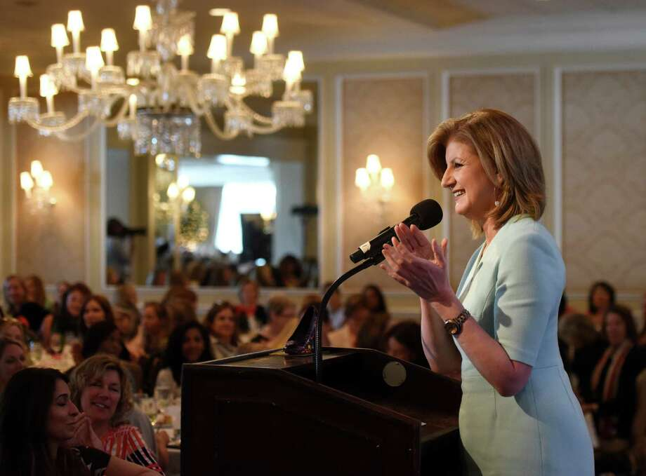 "Huffington Post founder and author Arianna Huffington speaks at the United Way's annual Sole Sisters luncheon at Greenwich Country Club in Greenwich, Conn. Tuesday, April 19, 2016. Huffington spoke about the importance of a good night's sleep, after the release of her new book ""The Sleep Revolution."" Photo: Tyler Sizemore / Hearst Connecticut Media / Greenwich Time"