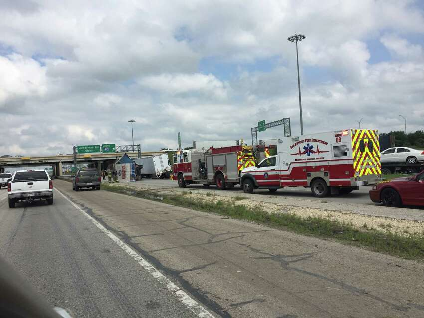 Two tractor trailers overturned on I-10E near the 410 cloverleaf on the east side.