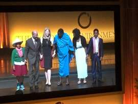 Goldman Prize winners on stage at end of ceremonies