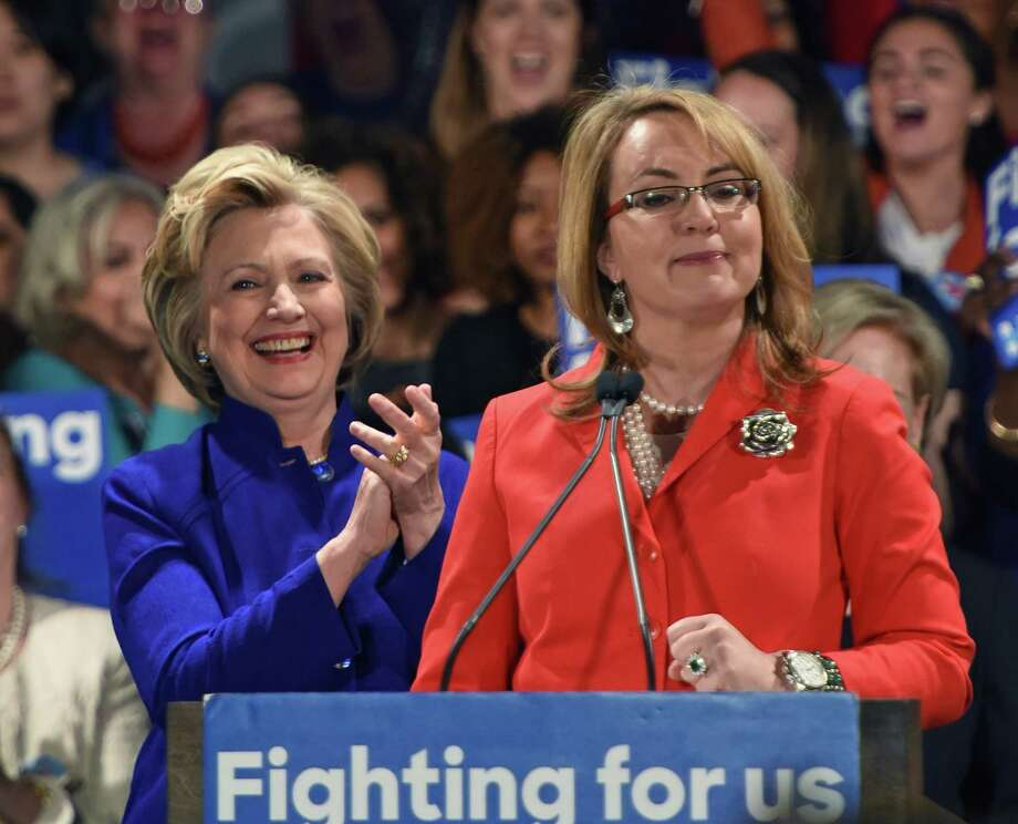 """Democratic presidential candidate Hillary Clinton former Congresswoman Gabby Giffords attend a """"Get Out the Vote"""" rally April 18th, 2016 in New York ahead of Tuesdays Democratic primary in New York. Photo: Timothy A. Clary / AFP/Getty Images / Getty Images"""