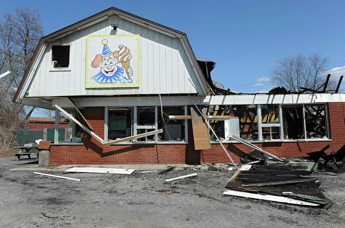 Scene at the Dairy Circus, a Scotia landmark that was destroyed by fire on Monday on Tuesday, April 19, 2016 in Scotia, N.Y. (Lori Van Buren / Times Union)