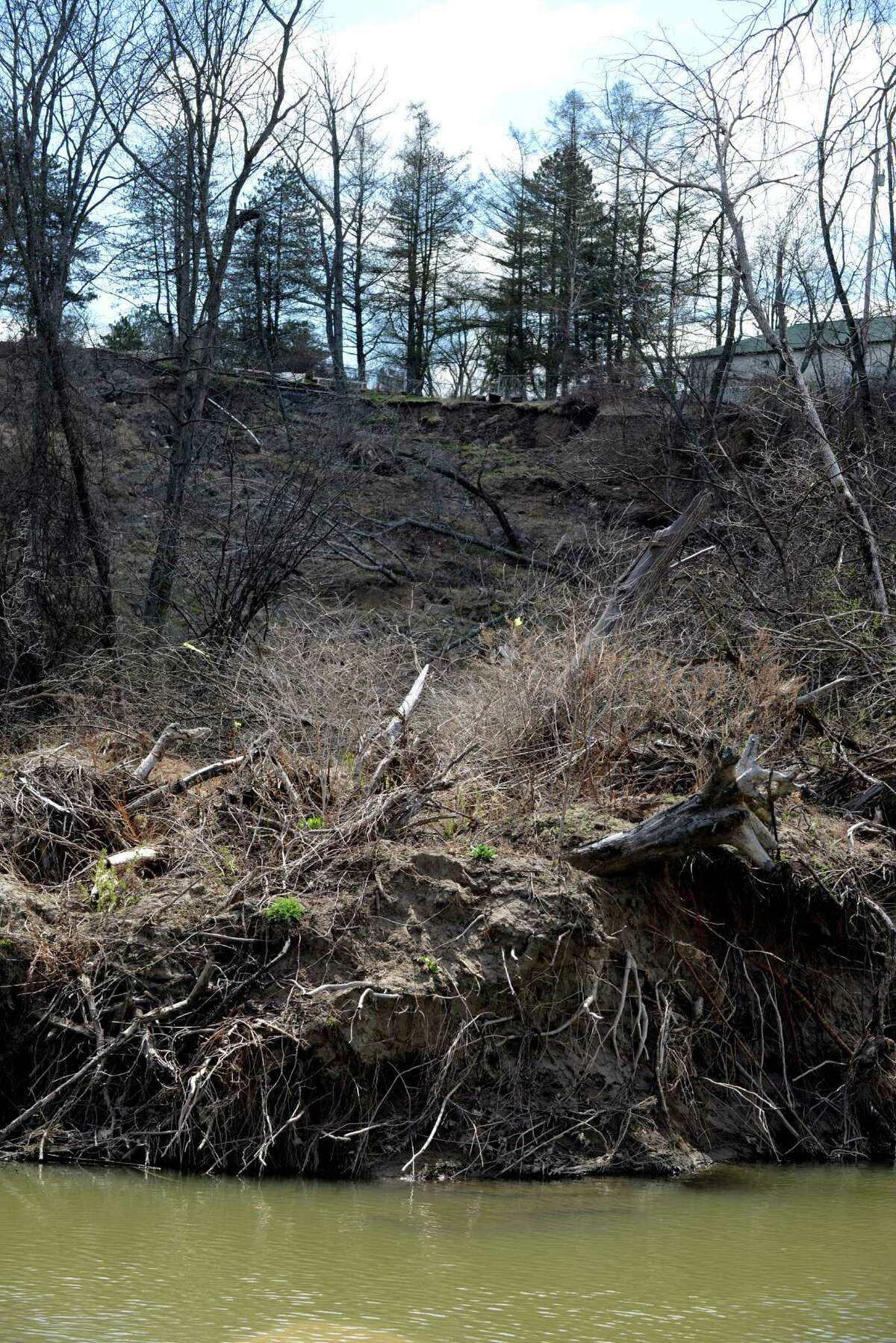 Site of the 2015 landslide at Normanside Country Club on Tuesday, April 19, 2016, in Bethlehem, N.Y. A large portion of earth and debris slid down the hill and blocked the Normans Kill at Capital Hills at Albany Golf Course. (Will Waldron/Times Union)