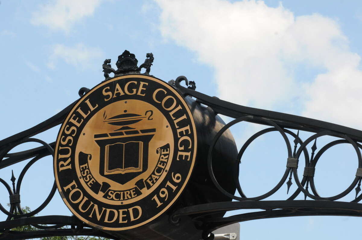The sign over the First Street entrance to Russell Sage College on Friday Aug. 16, 2013 in Troy, N.Y.(Michael P. Farrell/Times Union)