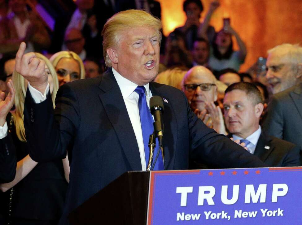 Republican presidential candidate Donald Trump speaks during a New York primary night campaign event, Tuesday, April 19, 2016, in New York. (AP Photo/Julie Jacobson) ORG XMIT: NYJJ107