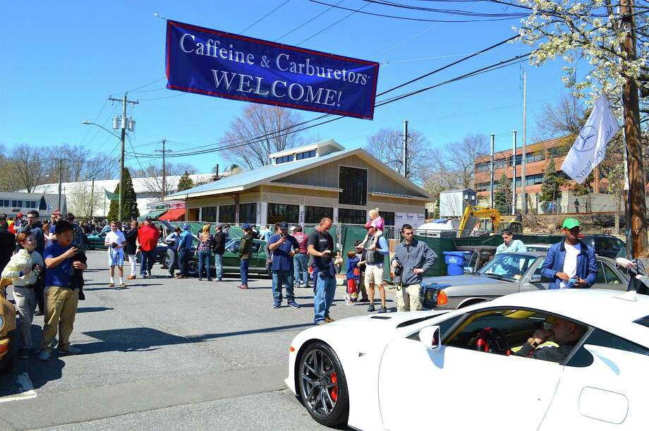 Sunday morning's Caffeine & Carburetors was a huge success, with hundreds of cars on display and many more visitors. Photo: Jarret Liotta / Hearst Connecticut Media / New Canaan News  freelance